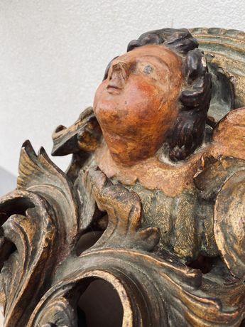 Mísula policromada barroca anjo madeira arte sacra sec. XIX