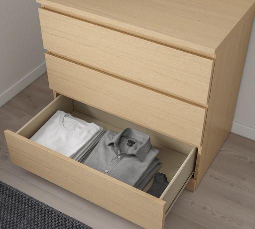 Nowa komoda Ikea Malm, 3 szuflady, okleina dębowa bejcowana na biało
