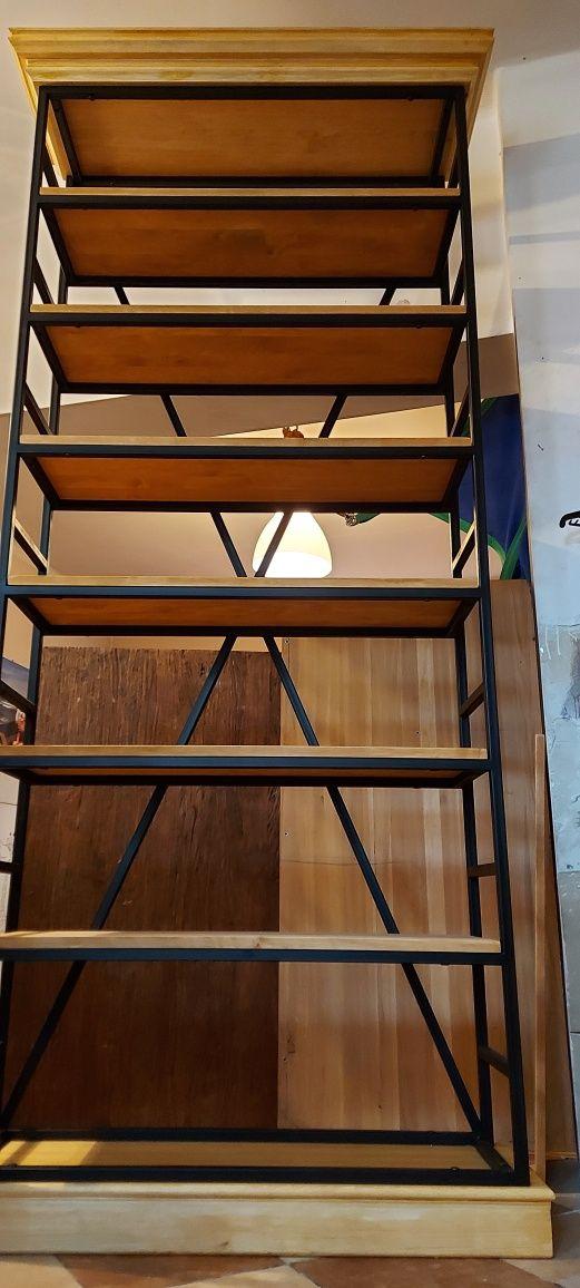 Regał loft. Lite drewno. Regał z koroną.