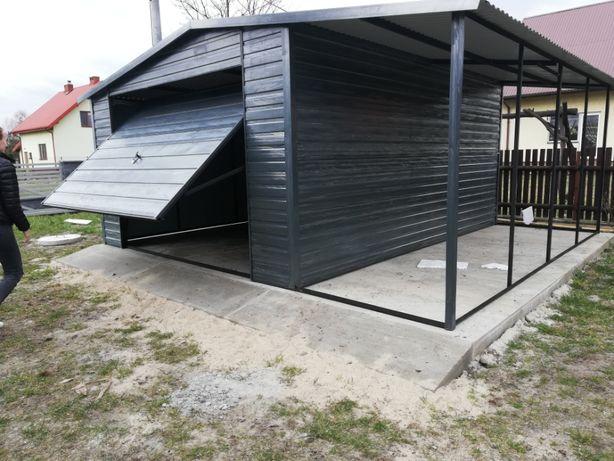 Garaż blaszany, blaszak, 4x5 z wiatą, Antracyt - kolory-MONTAŻ GRATIS