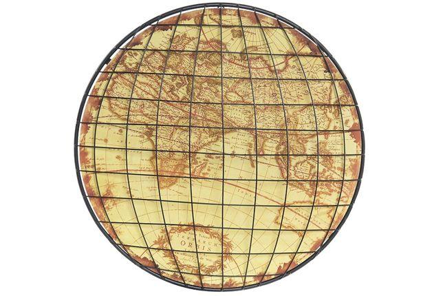 Quadro de Meta Mapa Mundo Globo Vintage - 50x50cm By Arcoazul