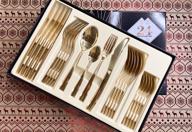 Zestaw sztućców - Gold - 24 sztuki - dostawa w cenie !