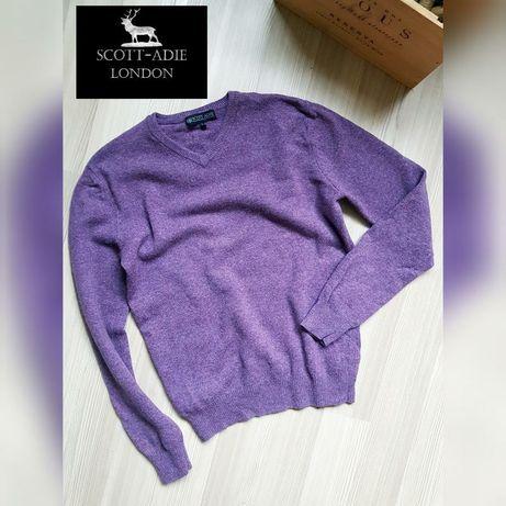 Английский добротный свитер из натуральной шерсти фиолетовый