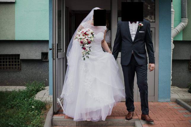 DO NEGOCJACJI Suknia ślubna sukienka Monica Loretti 40/42/44/46 welon