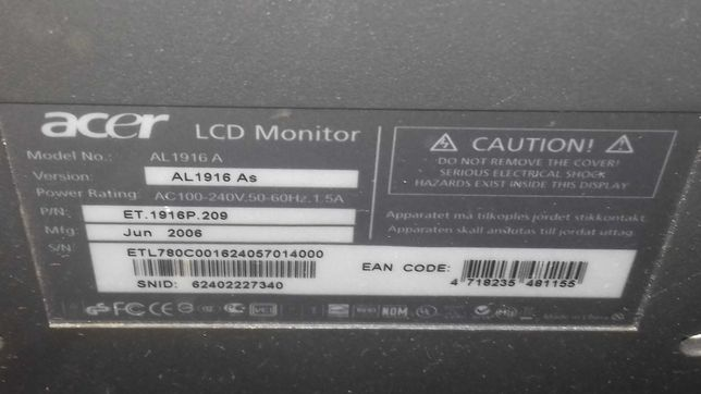 monitor lcd acer al 1916 as