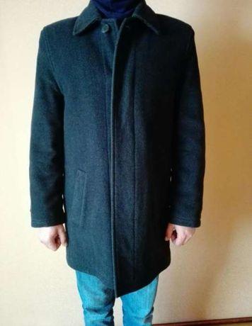 Czarny męski zimowy płaszcz L