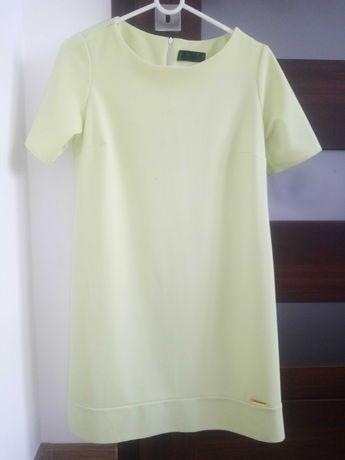 Sukienka trapezowa why not litera A 36 S limonkowa żółta elegancka