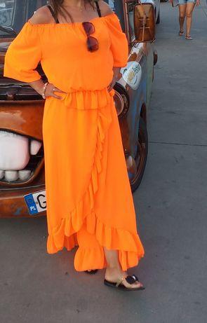 Spodnica+bluzka neon pomarancz