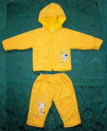 Тёплый костюмчик 2-ка (штанишки и куртка). как новый, 9 мес
