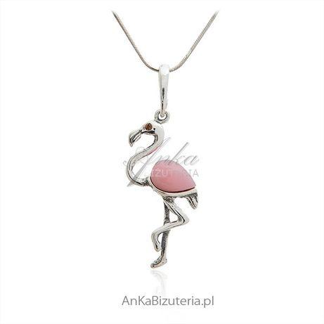 ankabizuteria.pl Srebrny wisiorek PELIKAN z różowym agatem - duża