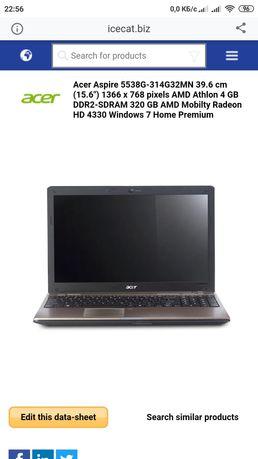 Ноутбук Aser Aspire 5538-314G32Mn