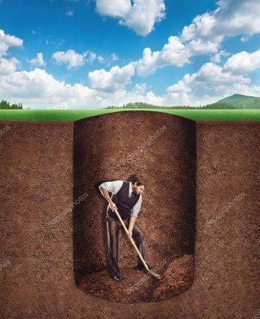 Земляные работы вручную, копка траншей, сливных ям, фундамент