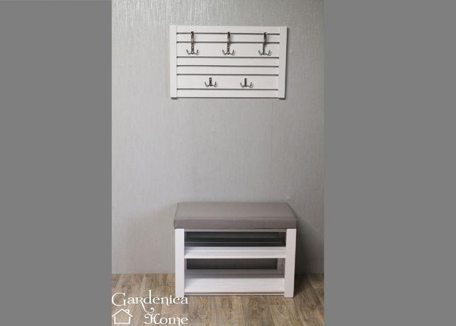 Zestaw do przedpokoju wieszak szafka dwie półki siedzisko