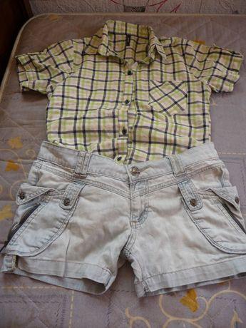 Стильный комплект : джинсовые шорты + рубашка