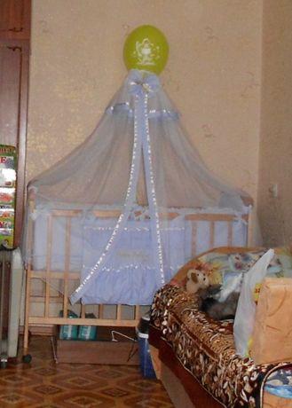 """Детская кроватка """"Наталка"""", матрас, постельное в кроватку, балдахин"""