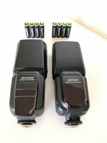 Neewer flashes NW670 e NW985 (HSS) com baterias recarregaveis.