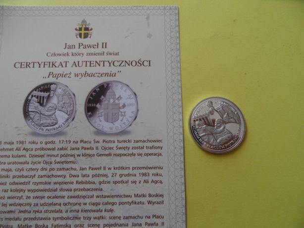 srebrny medal numizmat moneta Święty Jan Paweł II - certyfikat 6 sztuk