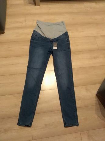 Jeansy ciążowe z pasem. Nowe!