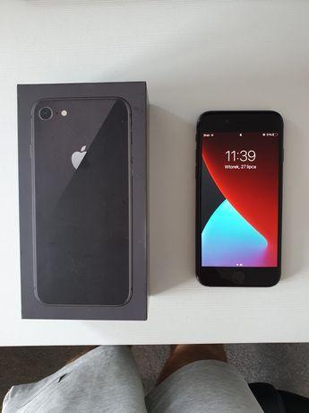 Iphone 8 Idealny, bateria 100% + kabel + nowe szkło hartowane