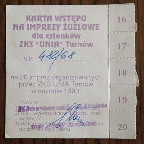 Karta wstępu Unia Tarnów żużel rok 1993