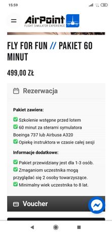 Voucher symulator lotu Boeing 737 Warszawa