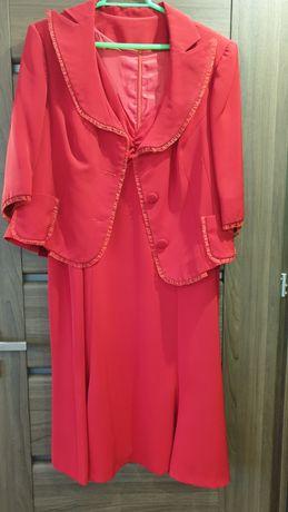 Sukienka plus marynarka roz XL/XXL czerwień