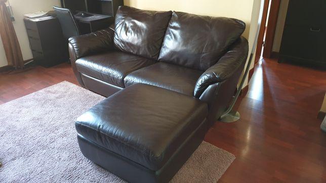 Sofa e pouf em pele genuine