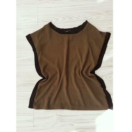 Bluzka damska Zara M L 38 40 luźna koszulka khaki koszula czarna