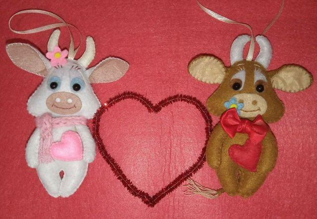 Валентинка, игрушка, сувенир, символ года из фетра