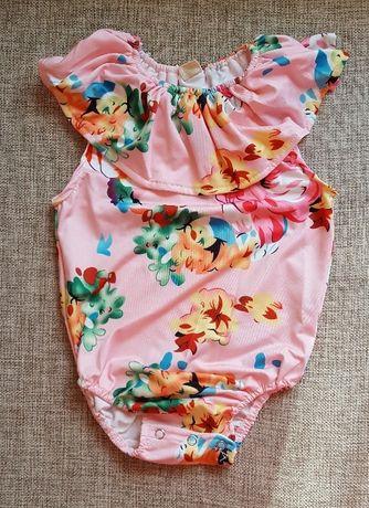 Nowy strój kąpielowy dziecięcy dziewczęcy 2 3 lata 100 falbana kwiaty