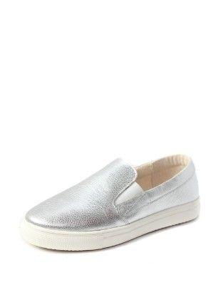 Слипоны туфли серебряного цвета кожаные