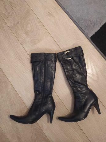 Skórzane kozaki buty damskie na obcasie szpilce rozmiar 36