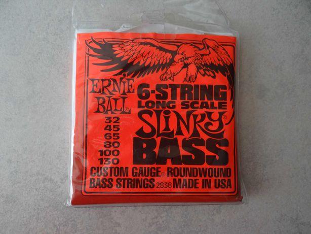Struny do gitary basowej Ernie Ball, nowe komplet 6 szt.
