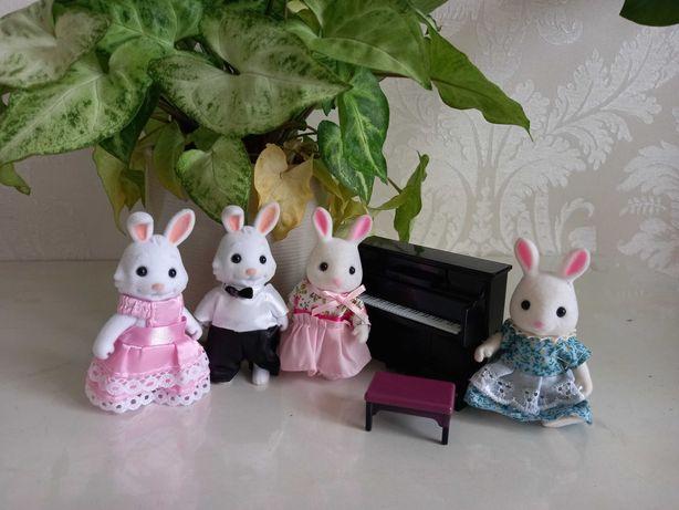 Флоксовые животные, Sylvanian, happy family, игрушка, пианино, мебель