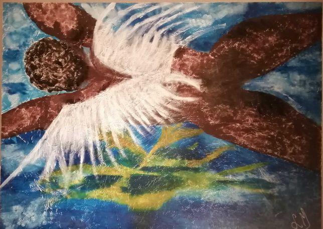 Anjo negro em acrílico - original