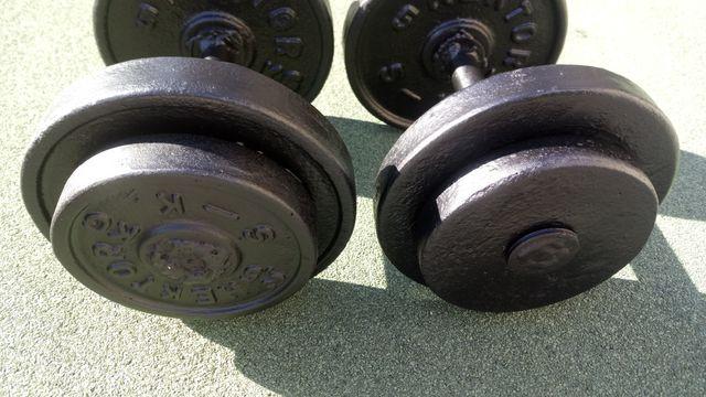 Hantle żeliwne stałe 2x15 kg komplet za 230 zl