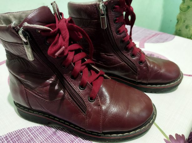 Кожа Сапожки ботинки зимние