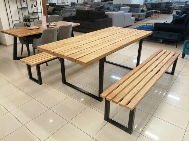 Komplet ogrodowy Dębowy Stół + 2 Ławki