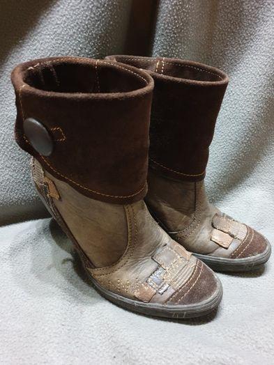 Botim/bota pele camurça castanhas 37