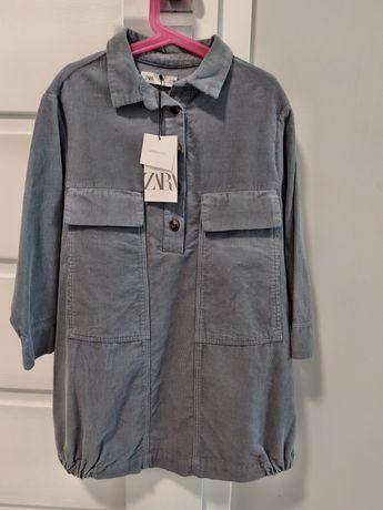 Sukienka z delikatnego sztruksu Zara roz.128