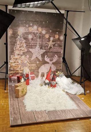 Tło fotograficzne świąteczne studio 160x400