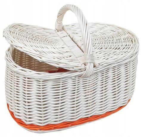 Kosz na piknik, zakupy, bagażowy ECRU - (pas rudy-dół)