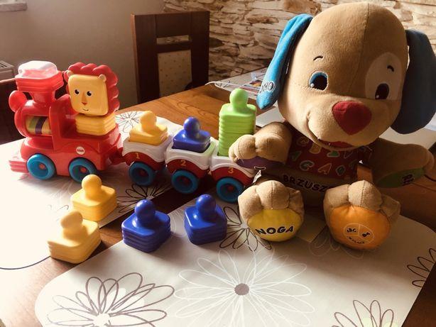 Zabawki Fisher-Price, szczeniaczek + pociąg