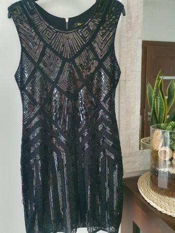 Sukienka cekinowa,koraliki,błyszcząca, czarna L