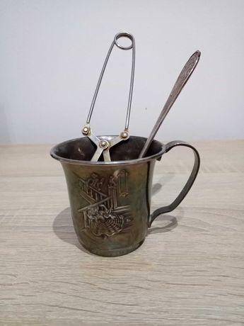 Stary posrebrzany sygnowany zestaw do parzenia herbaty.