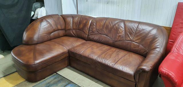 Narożnik skórzany kanapa rogówka skóra sofa jak nowa funkcja spania