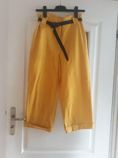 Żółte musztardowe spodnie 3/4 dżinsowe ciążowe proste kuloty