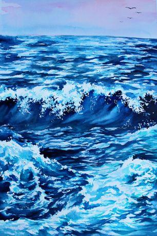 Картины акварелью Ручная работа! Морской пейзаж, море, океан, интерьер