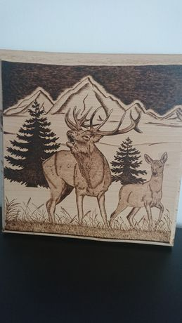 Obraz wypalony w drewnie