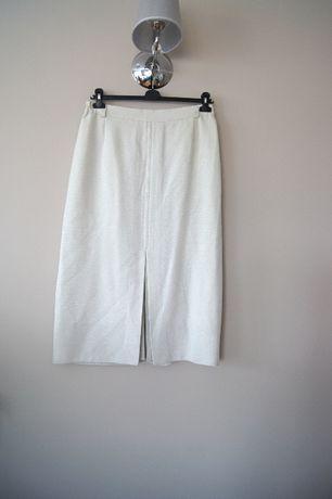 biala midi krotka elegancka letnia spodnica na lato zwiewna 44 46XXXL